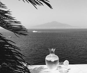 black and white and sea image
