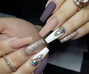 pink, nails, and swaroski image