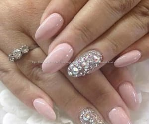 nails, swaroski, and pink image