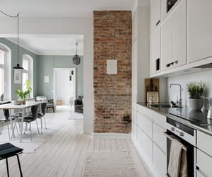 brick wall, design, and dining table image
