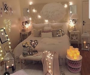 bedroom, lights, and white image