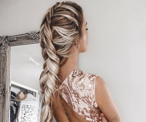 braid, dress, and earrings image