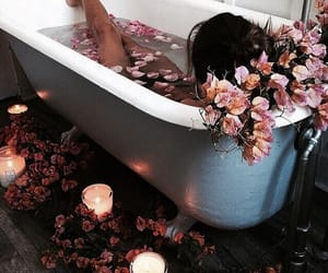 bathtub, flowers, and indie image