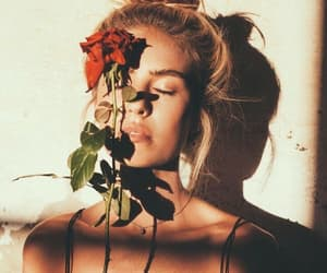 girl, rose, and flowers image