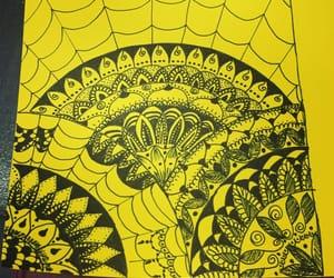 spiderweb, mandalas, and blak and yellow image
