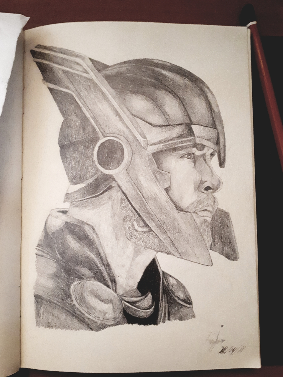 Pencil drawing of thor in his latest movie thor ragnarok