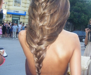back, braid, and girl image