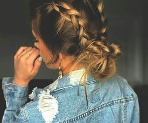 hair, braid, and denim image