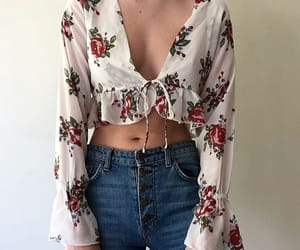 denim, fashion, and floral image