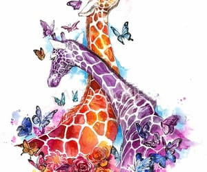 art, drawing, and giraffe image
