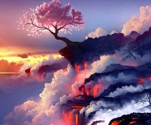 cherry blossom, anime, and clouds image