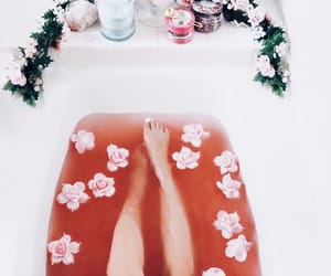 bath, roses, and bathtime image