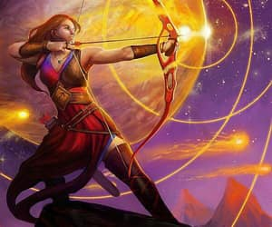 redhead fire archer and moon mountains meteors image