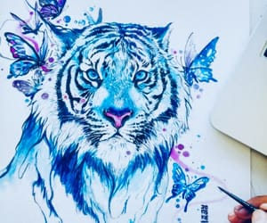 art, tiger, and drawing image