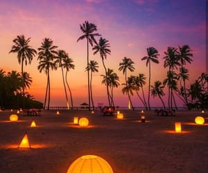 Maldives, beach, and lights image
