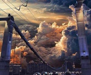 clouds, sky, and bridge image