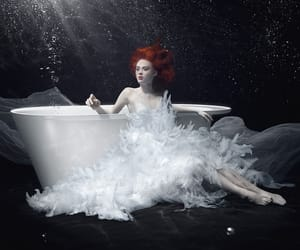 white light, redhead white dress, and white bathtub underwater image