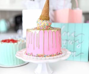 cake, ice cream, and pink image