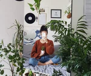 plants and girl image