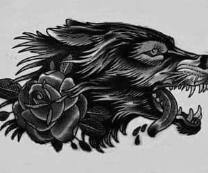 tattoo, rose, and wolf image