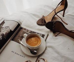 coffee, magazine, and heels image