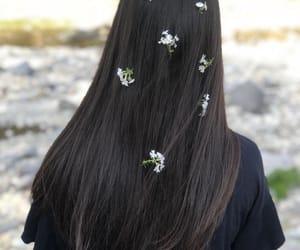 flower, hair, and long hair image