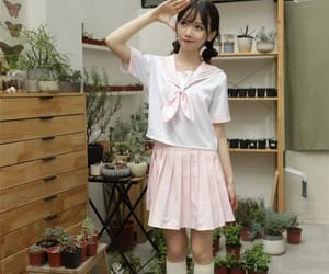 asian girl, school uniform, and thin image