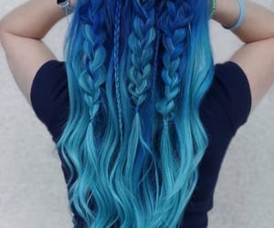 blue hair, ombre, and braids image
