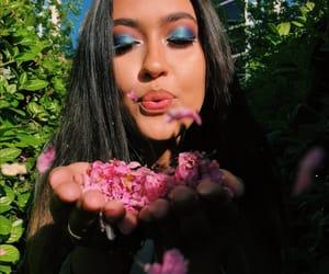 blue eyes, brunette, and flowers image