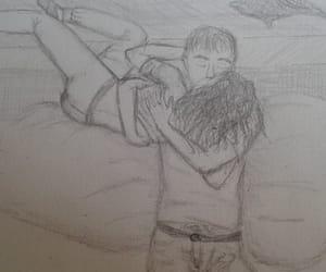 black and white, comic, and hug image