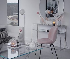 bedroom, pink, and white sofa image