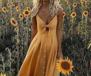 yellow, sunflower, and dress image