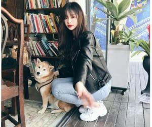ulzzang, dog, and girl image