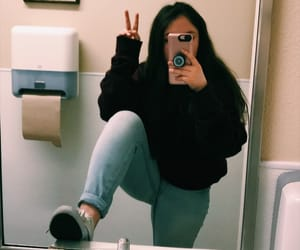 bathroom, filter, and girl image