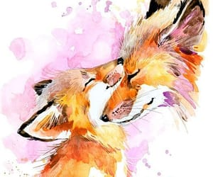 art, foxes, and painting image