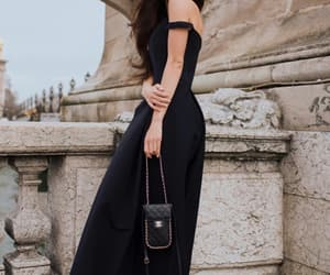 black dress, fashion, and feminine image
