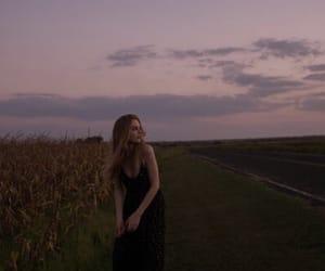 girl, sky, and sunset image