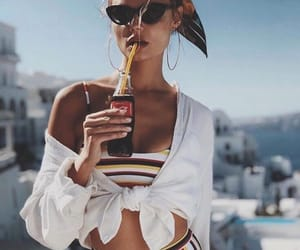 summer, drink, and model image