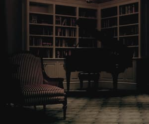 piano, room, and books image