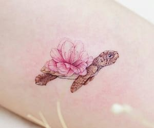 tattoo, flowers, and tortoise image