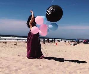 baby, balloons, and beach image