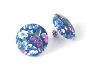 floral pattern, button earrings, and stud earrings image