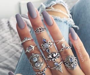 nails, rings, and bohemian image