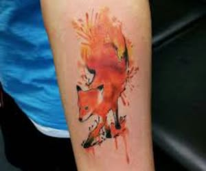 fox, tattoo, and watercolor image