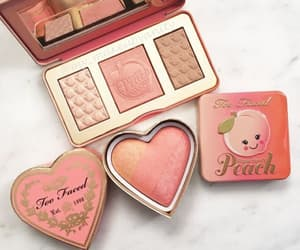 makeup, peach, and beauty image