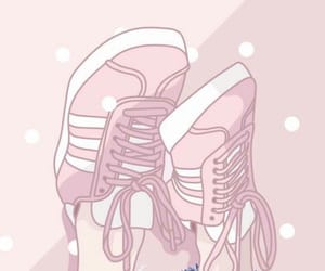 wallpaper, pink, and shoes image