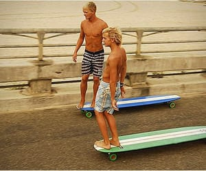 boy, summer, and longboard image