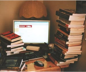 books, computer, and love image
