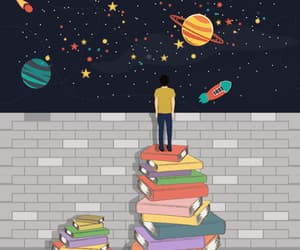 book, planet, and art image
