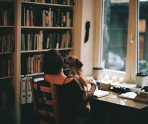 books, dog, and girl image